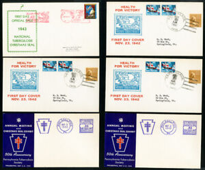 US-Early-1940s-Lot-of-6-Stamped-Christmas-Seal-First-Day-Covers-FDC