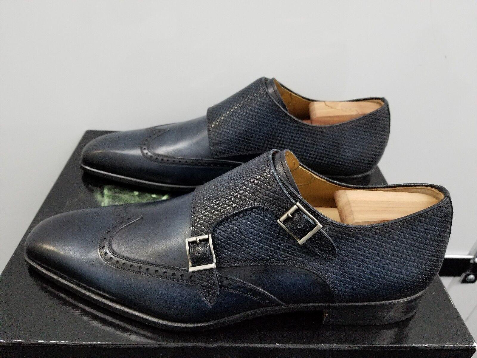 acquisto limitato Magnanni Casta Double Monk Strap Wingtips Loafers - Navy Navy Navy Leather - Dimensione  11 M  vendita con alto sconto