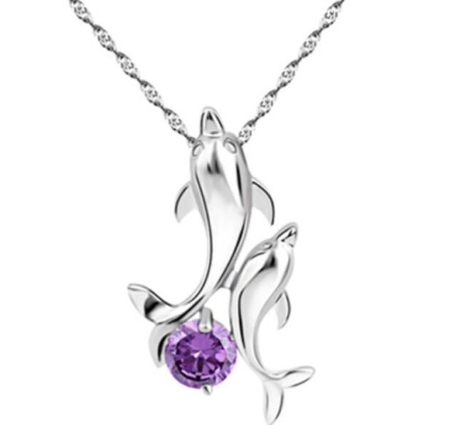 "SILVER DOLPHIN Pendant Necklace 18"" Chain SWAROVSKI Elements Amethyst CRYSTAL"