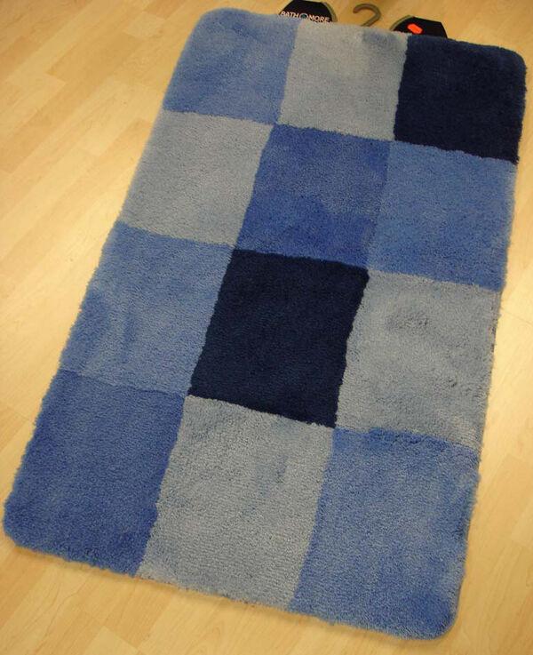 Badteppich Badematte Quadro 60 x 100 cm blau     | Günstige