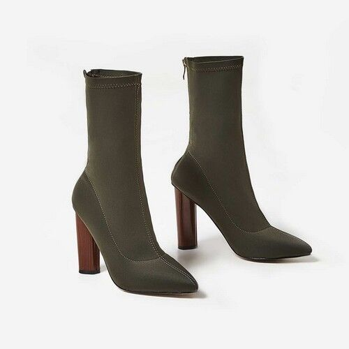 Fleeky Womans High Lycra Ankle Boot - Khaki - UK Sizes 3 - 4
