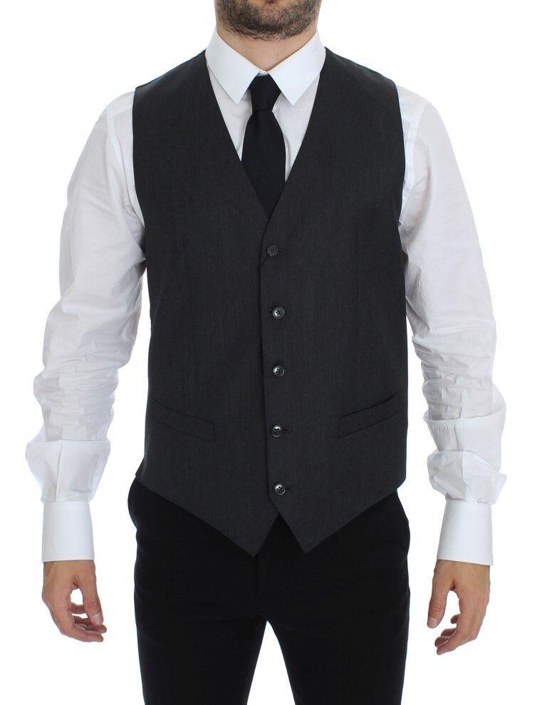 NWT DOLCE & GABBANA grau Wool Formal Dress Vest Gilet Weste IT48 / US38 /M