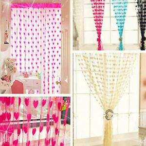 Tassel-Window-Home-Love-Heart-Curtain-Panel-Scarf-Line-String-Door-Curtains-MA