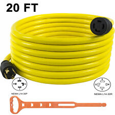 Generator Extension Cord 30a 20ft Nema L14 30 10awg 4 Prong Copper Wire 125250v