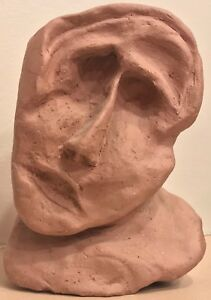 Vintage-60s-70s-Clay-Ceramic-Abstract-Head-Sculpture-Retro-Mid-Century-Modern