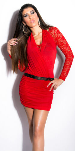 KouCla Kleid Party Neck Minikleid Clubwear Dress Spitze Gürtelschnalle