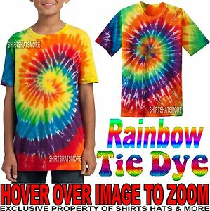 1929fb868 Youth Tie Dye Rainbow T-Shirt Tye Died XS, S, M, L, XL Boys Girls ...