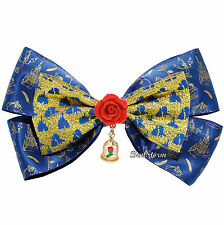 Disney Beauty & the Beast Belle Enchanted Rose Dome Costume Cosplay Hair Bow