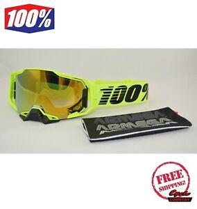NEW 100/% Percent MX ARMEGA Nuclear Gold Mirror Off Road Motocross Goggles