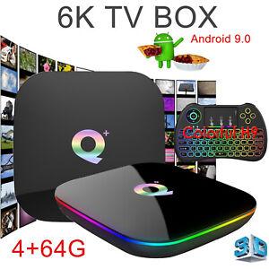 2019 6K Q plus 4+64GB Android 9.0 Pie Quad Core Smart TV Box WIFI 3D H.265 Media