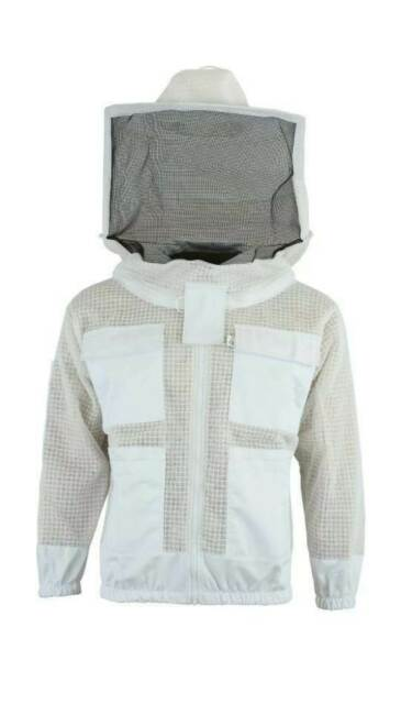 BKS Ultra Ventilated 3 Layer Bee Beekeeping Beekeeper Jacket Round Veil L