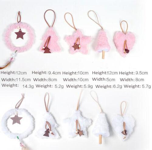 5 x Fluffy Christmas Hanging Ornament Xmas Home Decor Circle Star Heart Tree Set