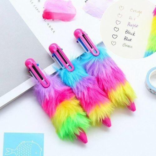 Cute Kawaii Plush Ballpoint Pen Creative 6 Colors Ball Pens For Kids Writing Kor