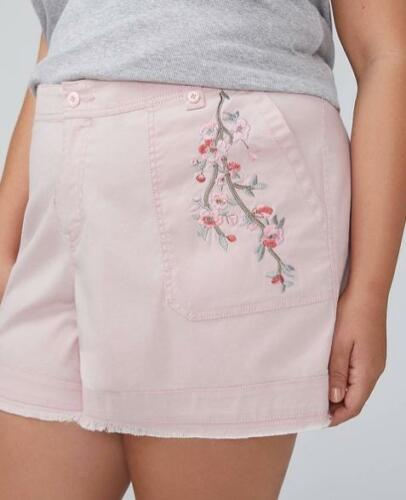 LANE BRYANT ~ New 14 16 20 22 24 26 28 ~ EMBROIDERED Floral GIRLFRIEND Shorts