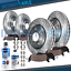 thumbnail 1 - 2009 - 2014 Acura TL Front & Rear DRILLED SLOTTED Rotors + Ceramic Brake Pads