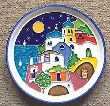 Vietri pottery-7,3/4in.plate Amalfi Coast scenery.Made/Painted by hand in Italy