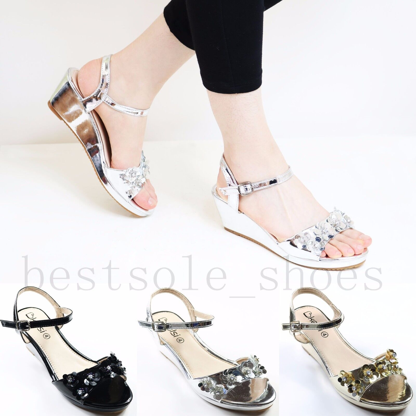 NEW WEDGES WOMENS LADIES ANKLE STRAP FLORAL PLATFORM WEDGES NEW SANDALS SUMMER HEELS SHOES f5a3b7