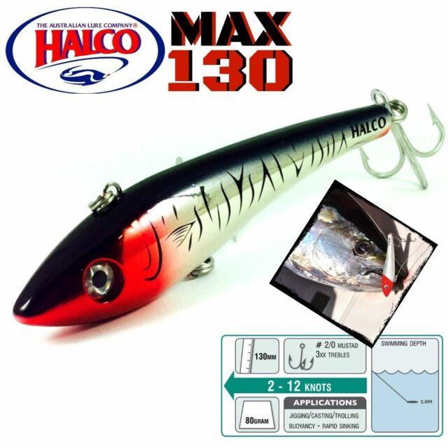 "Halco Max 130 Casting Sinking Bibless Minnow Trolling Plugs 5.25/"", 2-7//8 oz"