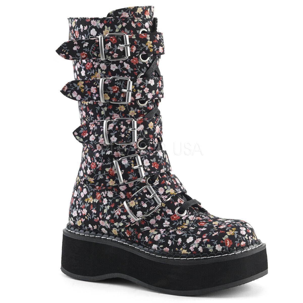 Demonia 2  Platform colorful Floral Flower 5-Buckle Strap Calf Boots 6-12