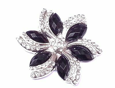 Mt34-5pcs 40mm Negro Diamante Flor Stick En Metal Boda Cristal Toppers