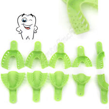 10pcs Dental Disposable Impression Trays Plastic Autoclavable Perforated Green