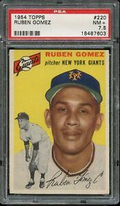 1954-Topps-BB-Card-220-Ruben-Gomez-New-York-Giants-ROOKIE-CARD-PSA-NM-7-5