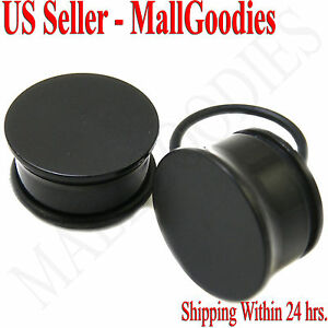 0940-Black-Acrylic-Single-Flare-Ear-Plugs-11-16-034-Inch-18mm-MallGoodies-1-Pair