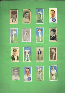 #D302.   SIXTEEN  CLASSIC  CRICKET CARDS - SOME DAMAGED