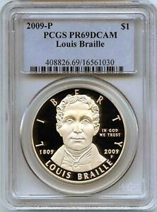 2009-P Louis Braille Silver Commemorative Dollar PR69DCAM PCGS Proof 69 Deep Cam