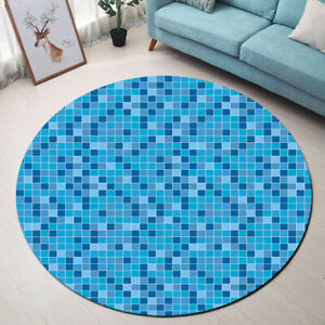 Round-Floor-Mat-Kid-Bedroom-Living-Room-Area-Rugs-Grid-Colored-Checkered-Pattern