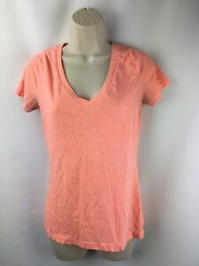 Mossimo-Women-039-s-Shirt-V-neck-size-Size-M-short-sleeve-Coral-Orange