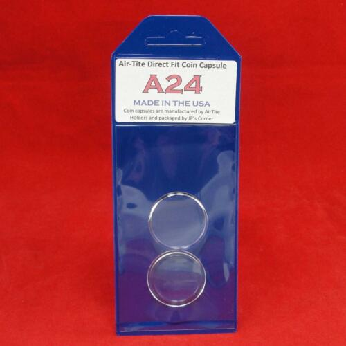 Individual Retail Pkg Model A24 Qty 10 AirTite Direct Fit Coin Holder Capsules