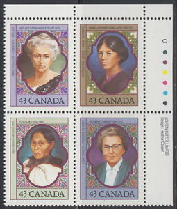 CANADA-1456-1459-43-Prominent-Canadian-Women-UR-Inscription-Block-MNH