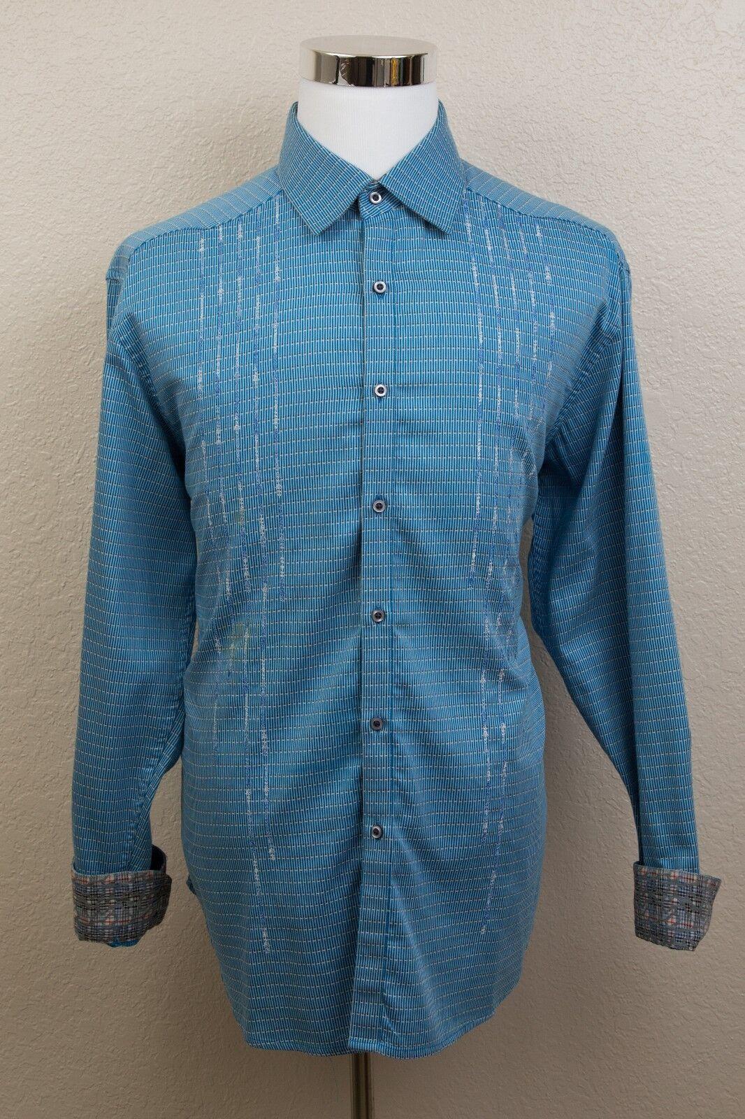 Men's Robert Graham bluee Striped Button Flip Cuff Shirt Sz XL
