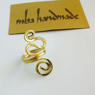 Hammered Brass Wire Wrapped Ring Any Size Mba Handmade Artisan Jewelry