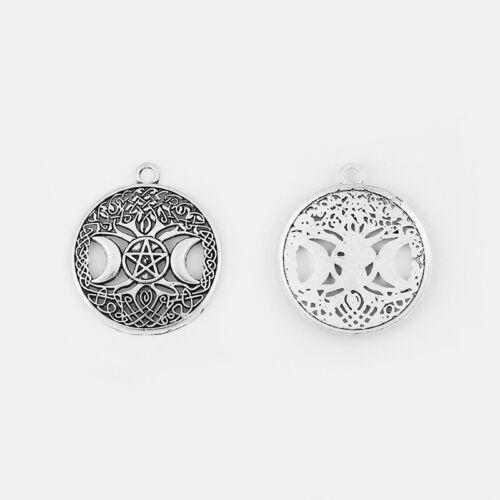 5Pcs Antique Silver Tree Life Triple Moon Goddess Charms Pendants Beads