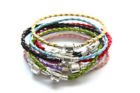 Braided Leather Bracelet Silver Clasp fit European Beads and Charms