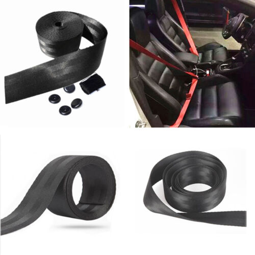 1x 3.6M Black Polyester Car 3 Bolt Point Safety Seat Belt Adjustable with Buckle