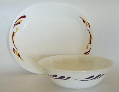 Corelle CELEBRATION Serving PLATTER Plate OR 1 Qt BOWL Purple Red Yellow Accents