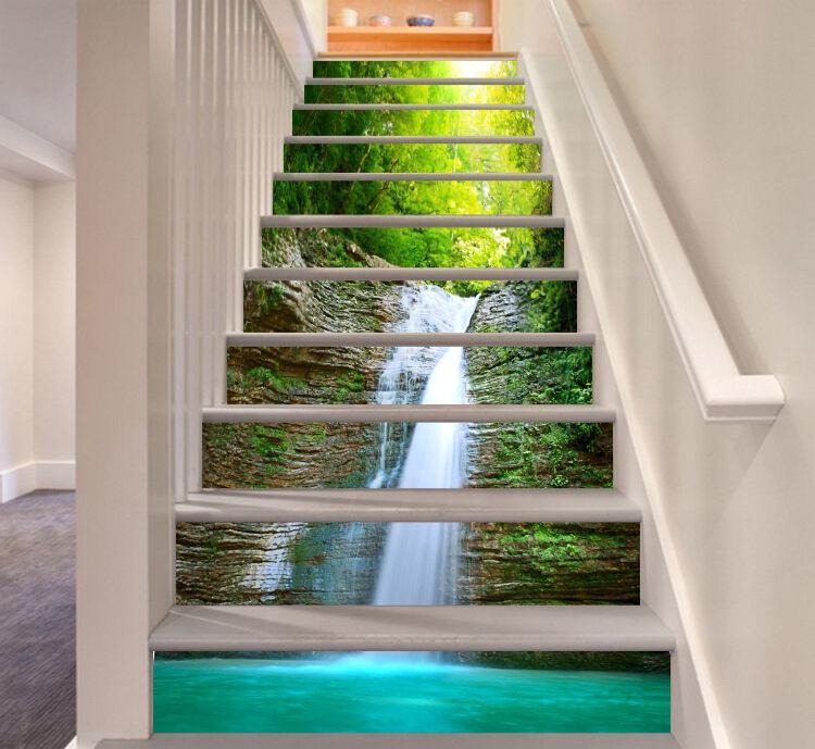 3D verde lago paisaje decoración mural vinilo Calcomanía Elevadores Foto Wallpaper CA