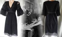 Flapper Dress Gatsby Vintage Victorian Lace Gothic Boho 40s Tea Black 10 38 US 6