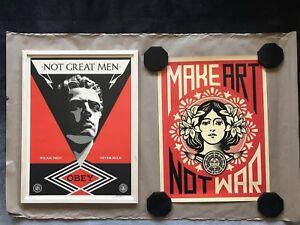 "Shepard Fairey - Obey Prints (2 Prints) 18""x24"" Not Great Men & Make Art Not War"