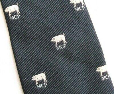 Il Migliore Vintage Cravatta Da Uomo Cravatta Crested Club Maschio Maschilista Maiale Mcp 1970s 1980s Blu Scuro-mostra Il Titolo Originale Chiaro E Distintivo