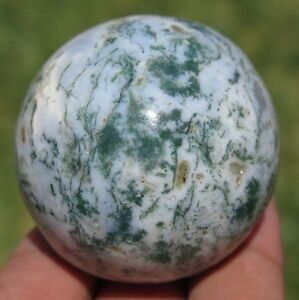 Details about A++ Big 40mm 3OZ Natural Moss Agate Crystal Sphere Ball