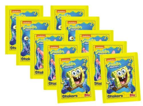 10 pochettes stickers /& autocollants cartes Topps Bob l/'éponge Sticker