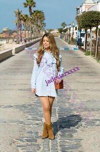 Details about Light Blue Zara Denim Mini Shirt Dress Frills M Medium 10 New