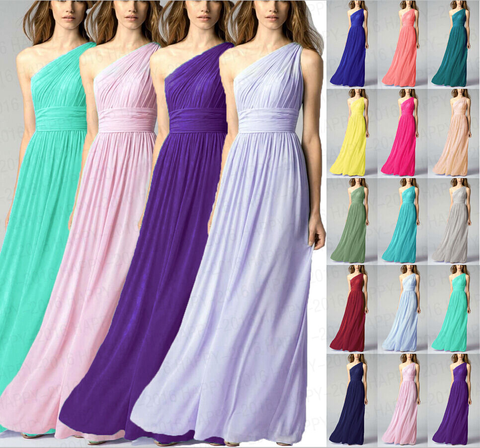 Floor Length One One One shoulder Formal Evening Gowns Bridesmaid Dresses Size 6++++++18 f8864d