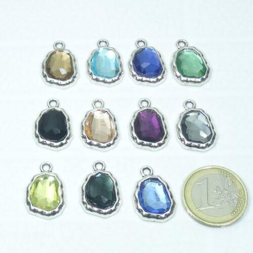 6 Colgantes Con Cristales 22x15mm T459C Plata Tibetana Cristales Bracelet Beads