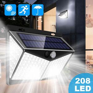 208-LED-Solar-Power-Light-PIR-Motion-Sensor-Security-Outdoor-Garden-Wall-Lamp-US