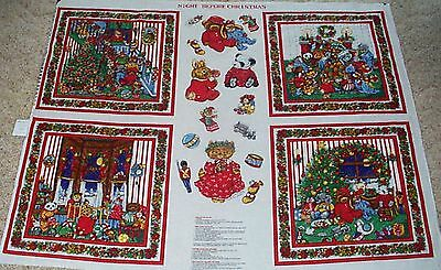 Night Before Christmas Pillow Panels and Appliques Fabric Cotton